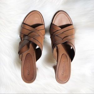 Cole Haan Shoes - Cole Haan Country Tan Leather Cross Over Sandals